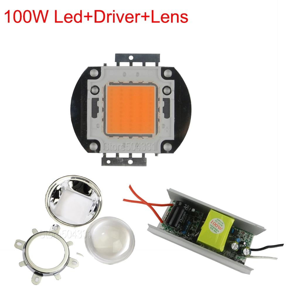 ФОТО DIY LED Grow light KIT,100W full spectrum led,Non waterproof led driver,led grow chip,lens and reflector