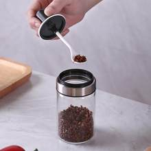 Kitchen Supplies Glass Seasoning Bottle Salt Storage Box Spice Jar With Spoon Kitchen Supplies Glass Seasoning Bottle Salt 5pz(China)