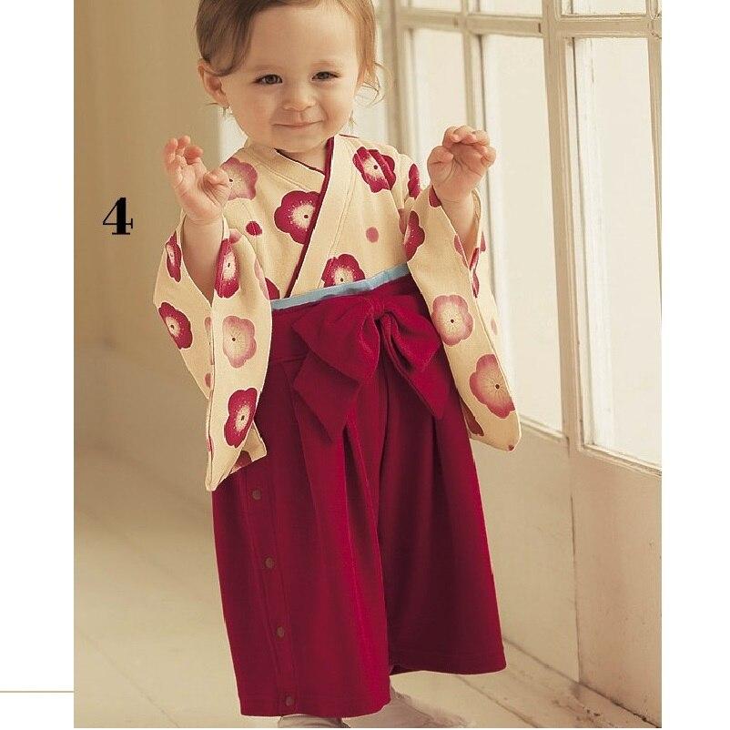 Красный цветок девушки кимоно комбинезон 100% хлопок babywear Рукавами комбинезон тела костюм девочка одежда