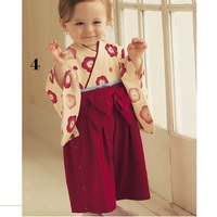 Flower Red Girl's kimono rompers 100% cotton babywear Sleeved jumpsuit body suit baby girl clothes