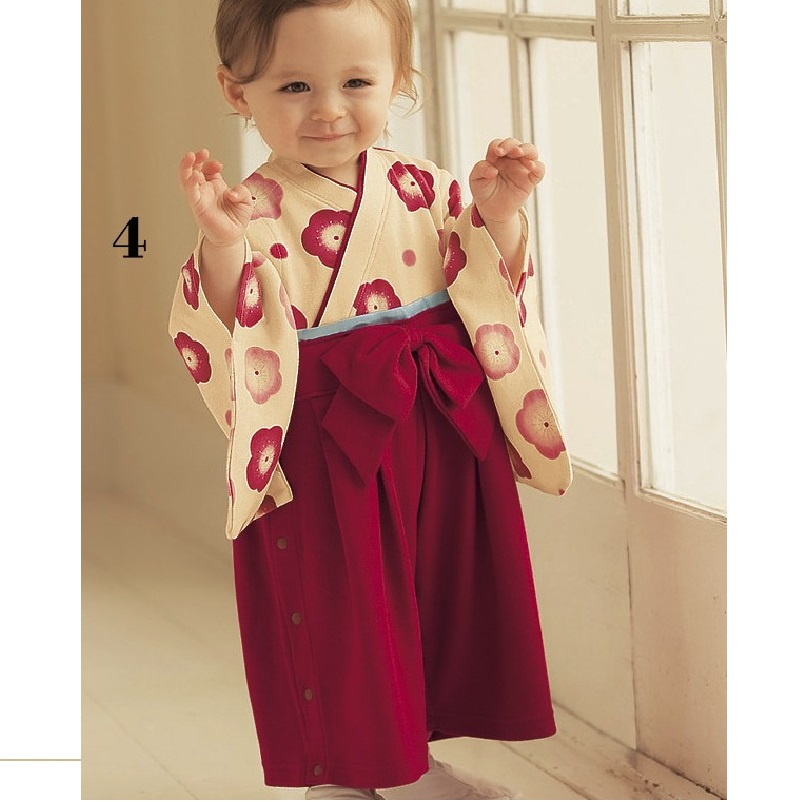 Flower Red Girl's kimono rompers 100% cotton sakura Long Sleeve jumpsuit body suit baby girl clothes outfits Cherry blossoms