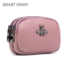 Brand Luxury Genuine Leather Wallets Women Purses Coin Purse Pink Small Wallet Ladies Purse For Girls Mini Money Bags Money Clip