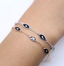 Real 925 sterling silver made chain eye Bracelets For Women enamel black eyes Charm Bracelets & Bangles Jewelry Femme 2018(China)