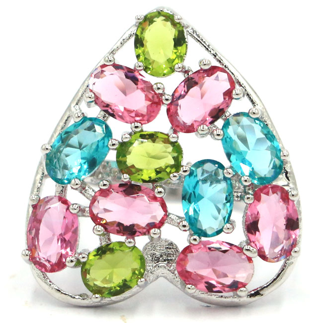 Rings Fine Jewelry Hard-Working 7.0# Colorful Raspberry Rhodolite,peridot Blue Aquamarine Silver Ring 23x22mm