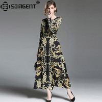Simgent Spring Autumn Long Sleeve Printing Elegant Slim Fit And Flare Women Long Dress Ladies Clothes