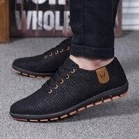 Men Shoes Breathable Spring/Summer Mens Shoes Casual Fashio Low Lace up Canvas Shoes Flats Zapatillas Hombre Plus Size 39 47