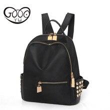 Золото аппаратных аксессуаров заклепки украшенные рюкзак женщины люксовый бренд вещевой мешок нейлон сплошной цвет путешествия сумки на ремне