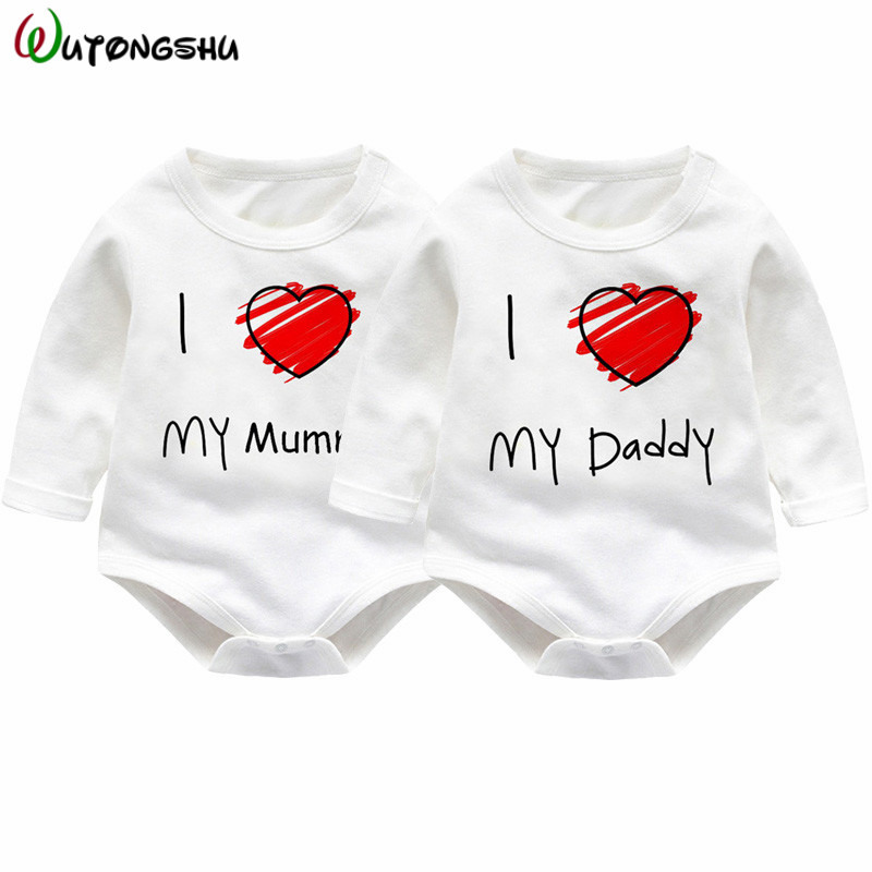 Newborn Kids Baby Rompers I love Daddy Jumpsuit Boys Girls Romper Long Sleeve Underwear Cotton Baby Boy Clothing Summer Outfits newborn infant baby girls boys rompers long sleeve cotton casual romper jumpsuit baby boy girl outfit costume