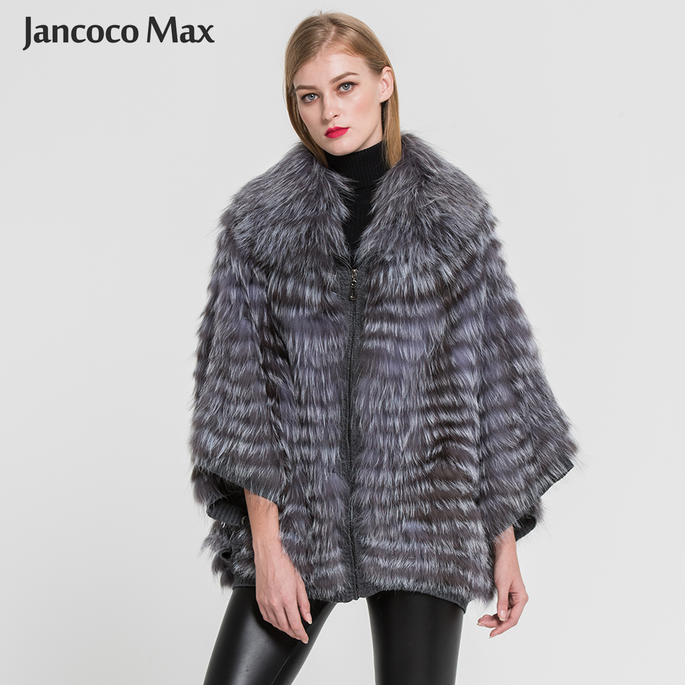 Women Genuine Silver Fox Fur Coat Spring Winter High Quality Natural Fur Jacket Poncho 2018 New Arrival S7383