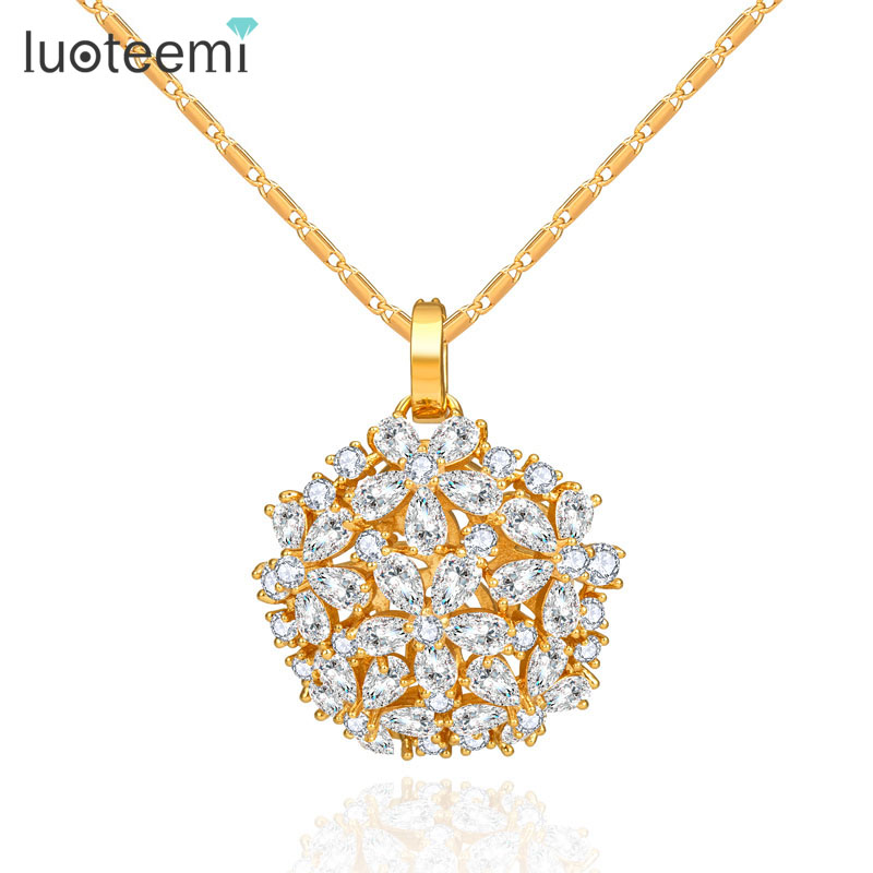 LUOTEEMI Fashion Female New Flower Zircon Stone Pendant Necklace Women Fancy Luxury Chain Necklace font b