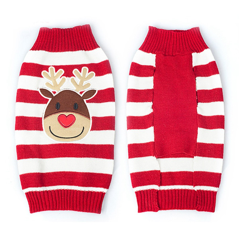 20pcs/lot Christmas Reindeer Design Lovely Puppy Pet Cat Dog Sweater Knitted Coat Apparel Clothes 7 Sizes Free Shipping WA1210
