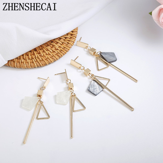 White color long chain geometric earring drop Korea style metal triangle earring for women girl simple ear jewelry accessories