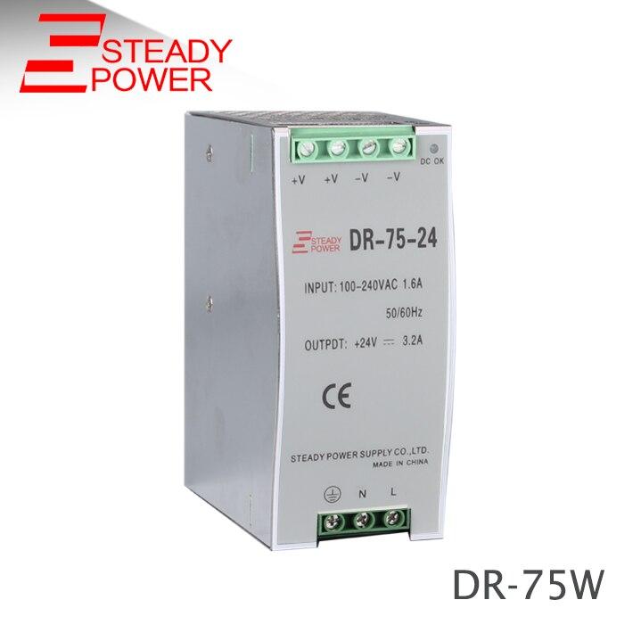 High quality SMPS 110v 220v ac to 24v dc transformer DR-75-24 din rail PSU 75w 24v 3a power supply unit dr 45 24 led din rail mounted power supply transformer 110v 220v ac to dc 24v 2a 45w output