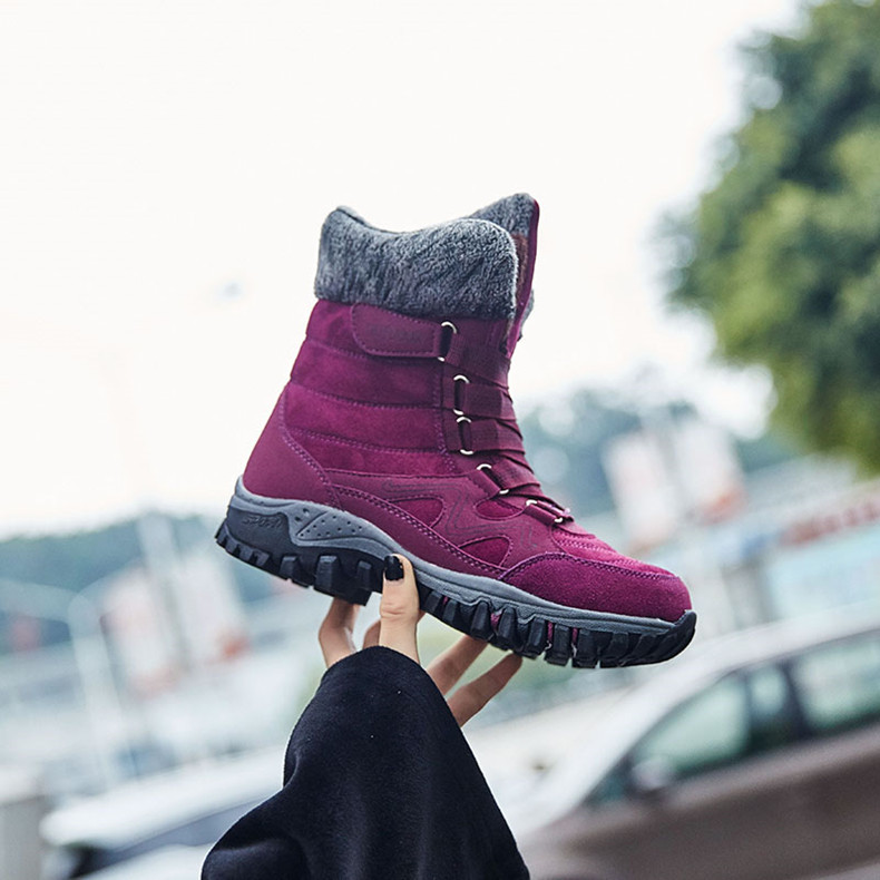 STS BRAND 2019New Fashion Suede Leather Women Snow Boots Winter Warm Plush Women's boots Waterproof Ankle Boots Flat shoes 35-42 (10)
