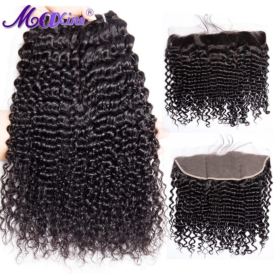 Maxine Hair Deep Wave 3 Bundles With Frontal Closure Brazilian Human Weave Bundles With Frontal Closure