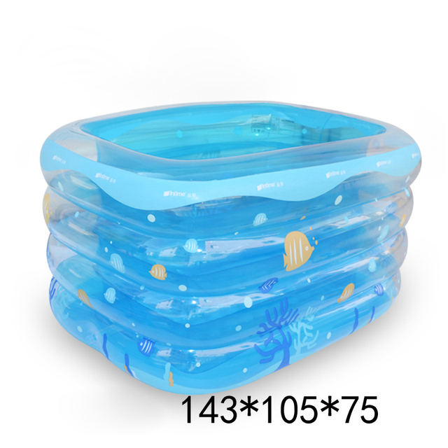 Baby Pool Transparent Inflatable Swimming Rectangular Children Pools Blue Green Large Plastic
