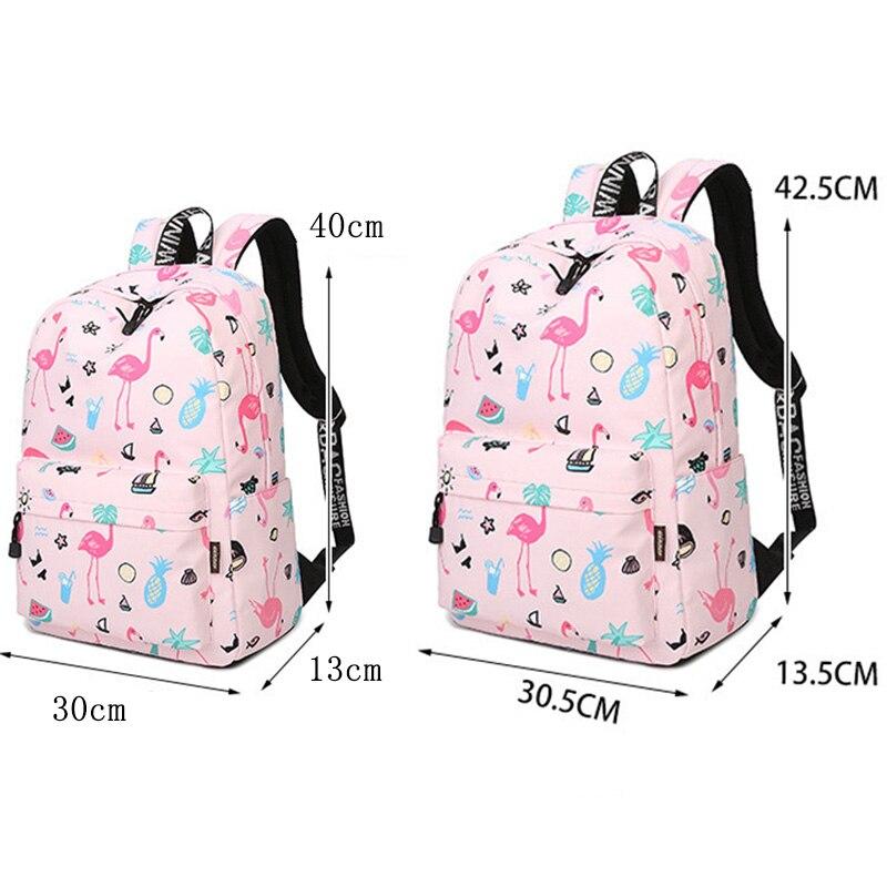 Waterproof Women Backpack Cute Bookbag Pink Flamingo Animal Knapsack Printing School Bagpack Bag For Teenage Girls Mochila #5
