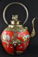 WBY 802++++++Tibetan Decorated silver Flower Cloisonne Wine Pot,Red Porcelain Big Tea Pot tools wedding Decoration Brass Teapot