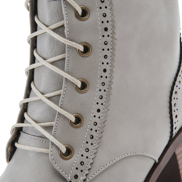 ESVEVA Cut Outs Ladies Motorcycle Boots Square Heel Mid-Calf Boots Lace Up Big Size 34-43