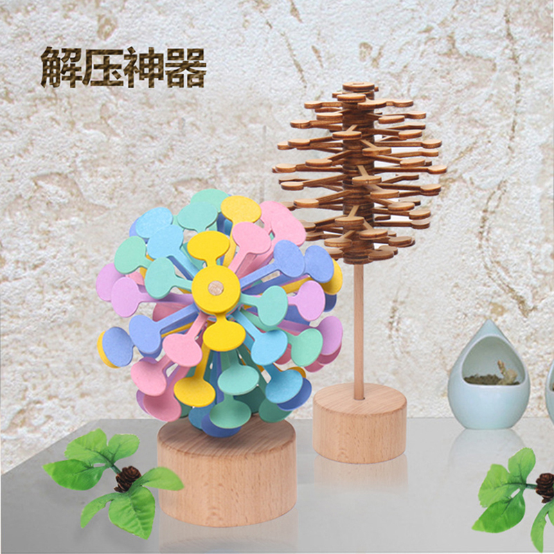 Wooden Rotating Lollipop Creative Decoration Decompression Toys  Office Decoration  Decompression Artifact For Kids Adult