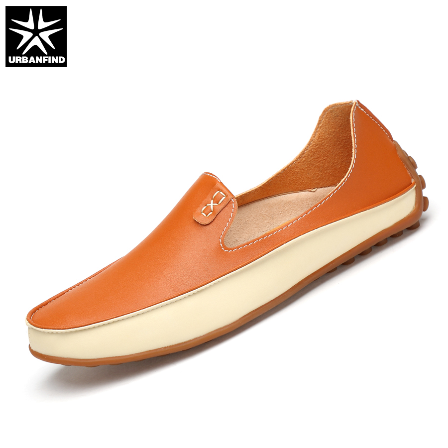 URBANFIND Fashion Men Leather Loafers Driving Shoes Big Size 36-47 Soft & Massage Outsole Summer Man Casual Slip-on Flats