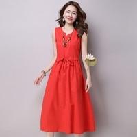 Women Summer Dress Sleeveless Cotton And Linen Plus Size Women Dress Vintage High Waist Casual Beach
