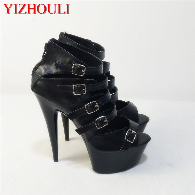 New Arrival Stylish Top Grade Custom-Made PU Leather Womens 15cm Open Toe Platforms High Heel Shoes Black Gladiator Sandals new arrived top grade ankle strap open
