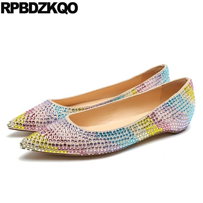 Slip On Flats Women Beautiful Sparkling Rainbow Rhinestone Pointed Toe 2017 Ladies Shoes European Drop Shipping Spring Autumn suede slingback 9 bling black women pointed toe large size summer flats rhinestone sandals ankle strap ladies beautiful shoes