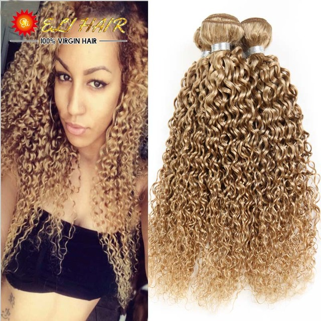 8a Brazilian Blonde Curly Hair Extensions Honey Blonde Remy Human