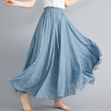 Spring and summer new style Literary style large size cotton and linen skirt Elastic waist linen A-line skirt solid color skirt fresh style solid color elastic waist tiered skirt for women