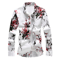 Plus Size Men Floral Shirt Business Casual Plus Size Chinese Style Print Shirts For Men Clothes 2018 Long Sleeve Blouse Homme