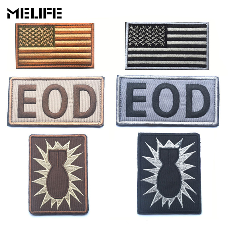 Hunting Accessories Military Embroidery Patch US The Hurt Locker EOD Patch American Flag 3D Embroidery Tactical Badges For Cloth