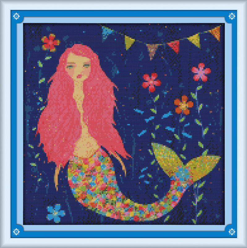 Bella Acquerello Mermaid Stampato Tela Dmc Contato Kit Punto Croce Cinese Stampati Cross-stitch Set Embroidery Needlework