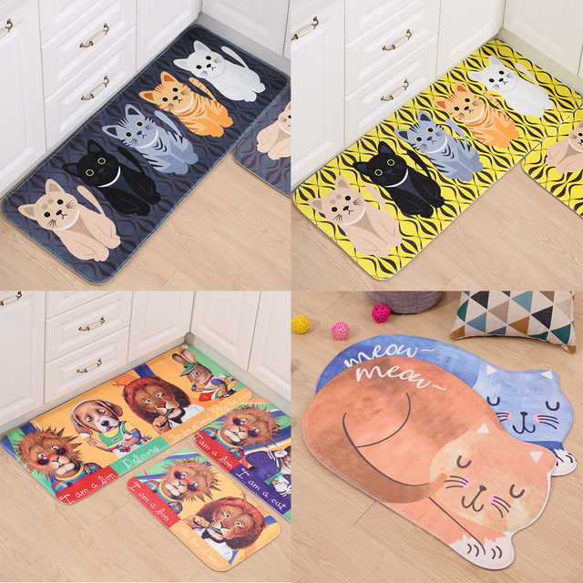 kawaii welcome floor mats animal cute cat printed bathroom kitchen carpets house doormats for living room - Floor Mats For Living Room