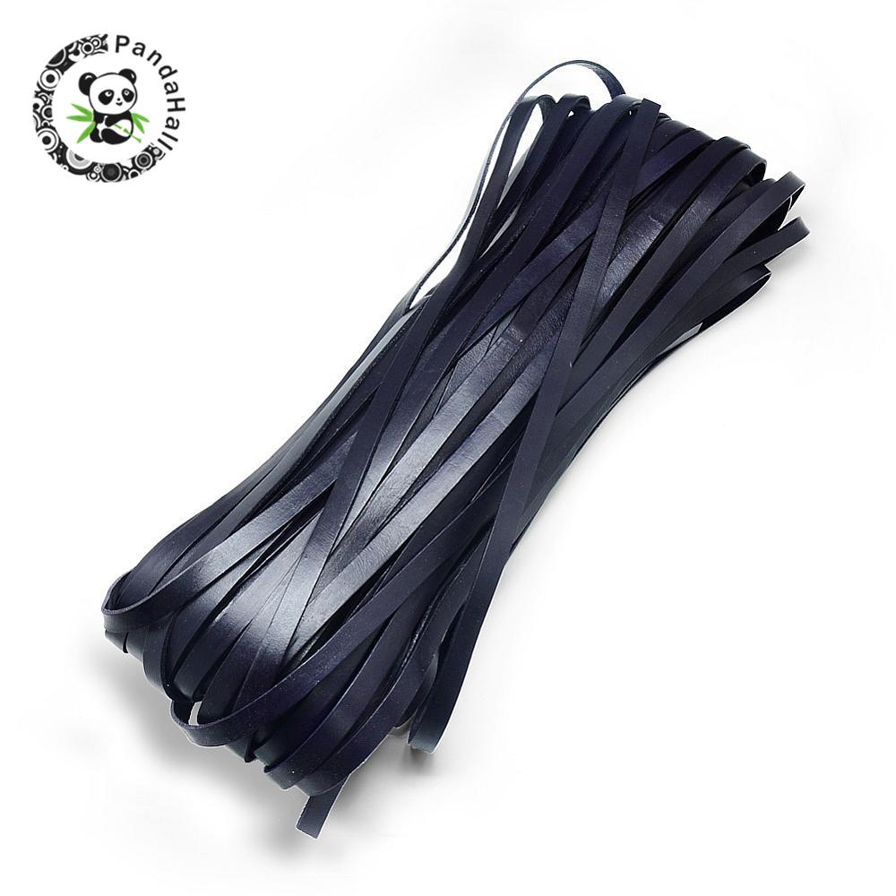 Cowhide Cord, PrussianBlue, 3x2mm; about 100yard/bundle