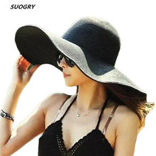 2521494b4b6d1e 2015 Summer Fashion Floppy Straw Hats Casual Vacation Travel Wide Brimmed  Sun Hats Foldable Beach Hats For Women With Big Heads