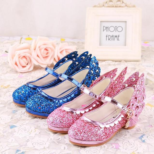 Top quality Children girl's elsa  girl princess bling shoes single Leather Shoes fashion dance High-heeled 26-38 999-22