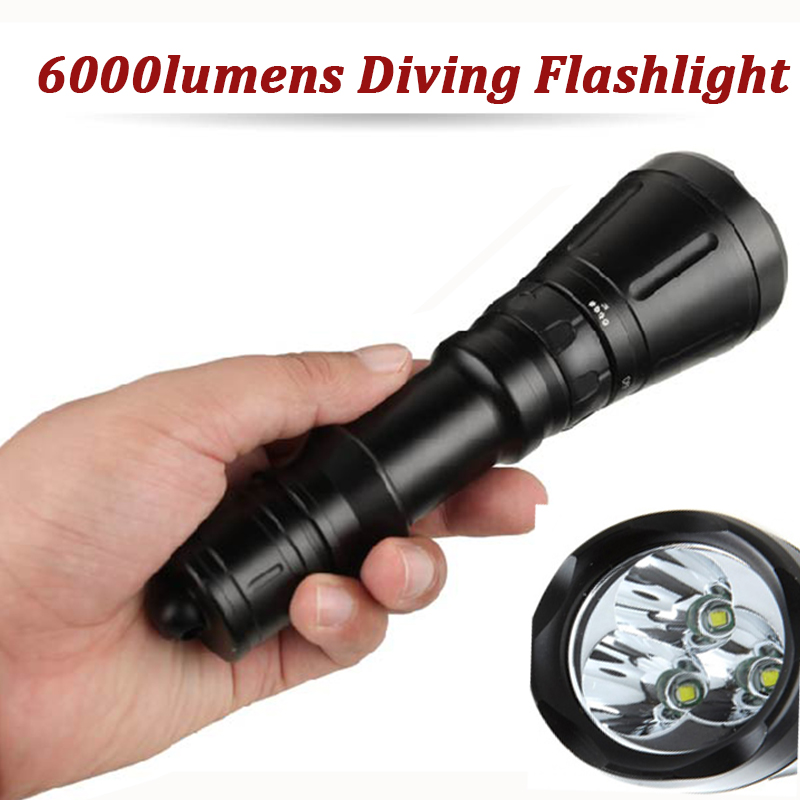 6000Lumens LED Dive Lamp Scuba Diving Flashlight 3*CREE XML T6 60M Underwater Hunting Flash Light Lanterna Tactical Torche Lampe 6000lumens bike bicycle light cree xml t6 led flashlight torch mount holder warning rear flash light