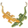 Bella Fashion Green Yellow Brown Crocodile Statement Necklace Austrian Crystal Animal Alligator Gold Tone Necklace Dress Jewelry