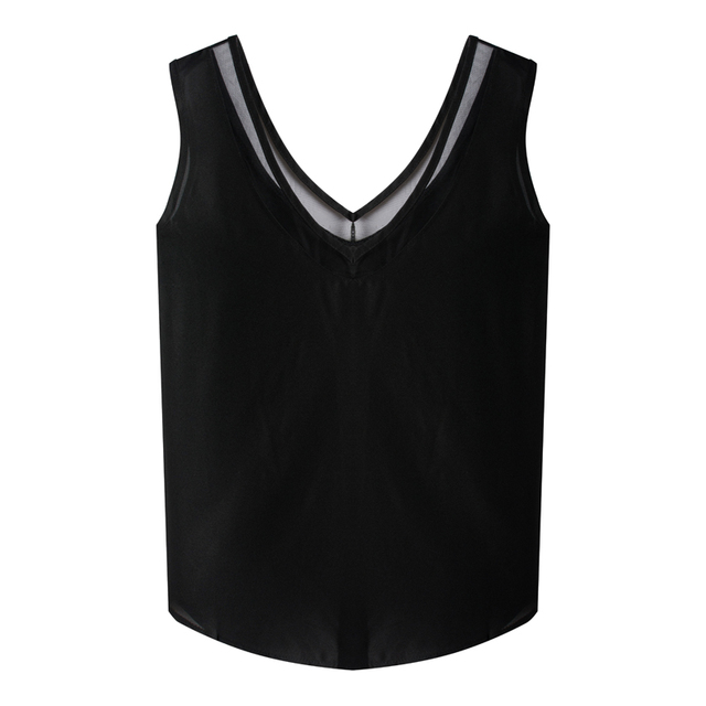 6bada1196bca Sexy Low-cut T-shirts Tank Top Sleeveless Camisole Tops Women s Vest Sexy  And Transparent V-neck Soft Tank Tops