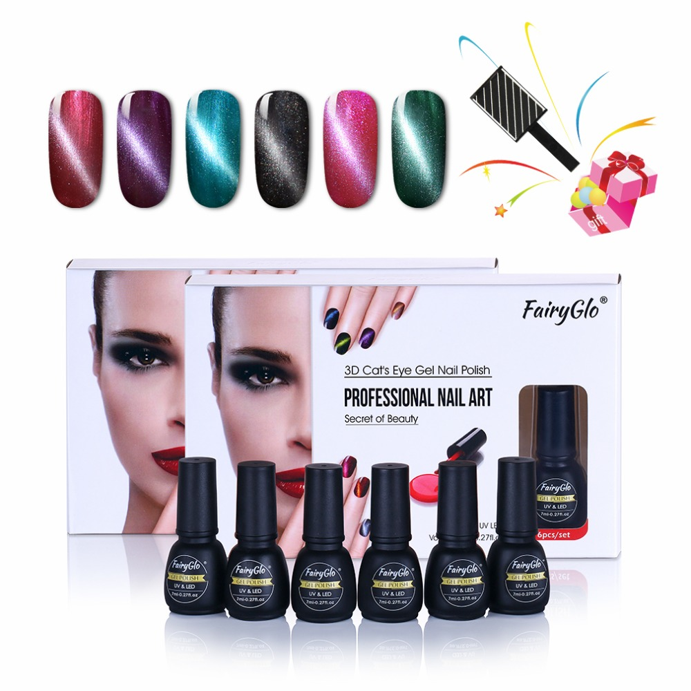 FairyGlo Nail Art Gift Set 6pcs Gel Nail Polish Cat Eye Gel Polish ...