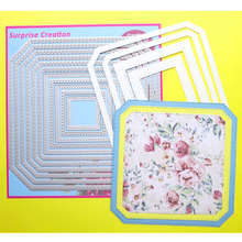 ФОТО surprise creation large cutting dies 18.5x18.5cm 11-piece stitched octagon square scrapbooking diy craft metal stencil
