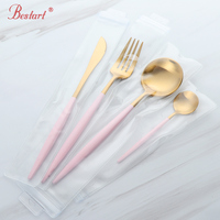 2sets Luxury Pink Gold Cutlery Set 18/8 Stainless Steel Dinner Knife and Fork Tablespoon Royal Party Dinnerware Set Kitchen Tool