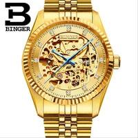 Экстравагантные полностью золотые стальные часы для мужчин Скелет механические часы с автоподзаводом бизнес для мужчин кристалл наручные
