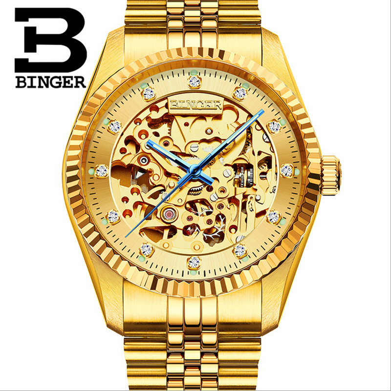 Extravagant Full Gold Steel Watches for Men Skeleton Mechanical Watch Self Winding Businessmen Crystal Wrist watch Hollow MontreExtravagant Full Gold Steel Watches for Men Skeleton Mechanical Watch Self Winding Businessmen Crystal Wrist watch Hollow Montre