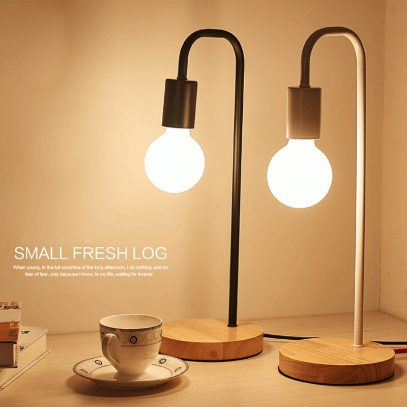 Us 16 71 10 Off Ac110 240v Simple Wooden Base Table Lamp Desk Lights Study Lighting Us Plug Eye Protection New Year Decoration Student Gift In Desk