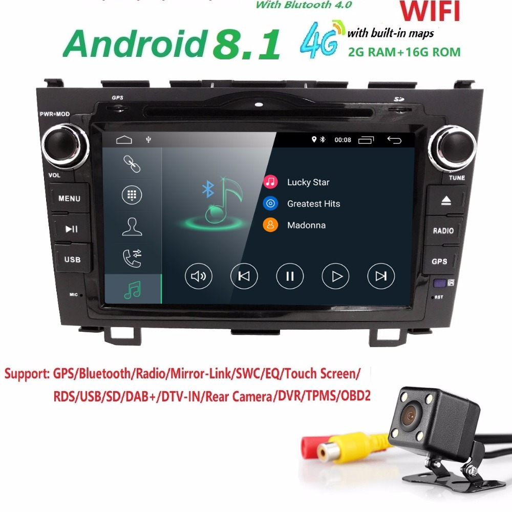 Android8.1 HD 1024*600 Car DVD Player Radio For Honda CRV 2007 2008 2009 2010 2011 4GWIFI GPS Navigation BT Head Unit 2din 2GRAM цены онлайн