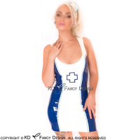 Blue With White Sexy Nurse Latex Dress With Cross And Headpiece Rubber Uniform Bodycon Playsuit LYQ 0052