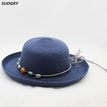 SUOGRY Vintage Women Summer Sun Beach Cap Straw Bowler Hat Clothe Derby Style