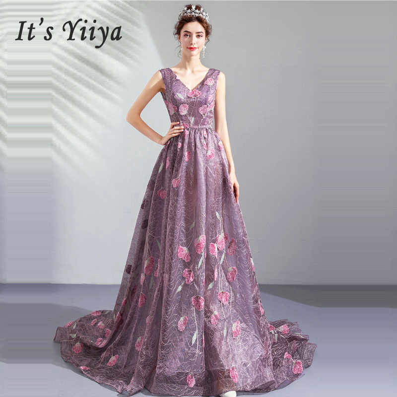 It's Yiiya Evening Dress V-neck Women Party Dresses Backless Robe De Soiree 2019 Long Plus Size Sleeveless Evening Gowns E628